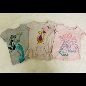 Girls Disney Princess Tee Shirt top bundle sz 3t